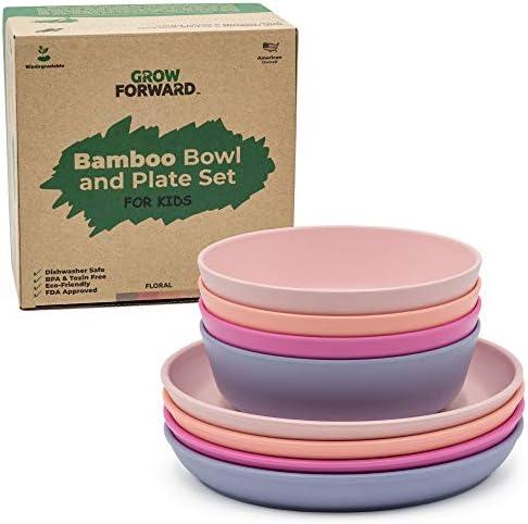 Grow Forward Kids Bamboo Bowl and Plate Set 4 Bamboo Plates 4 Bamboo Bowls Toddler Dishes BPA product image