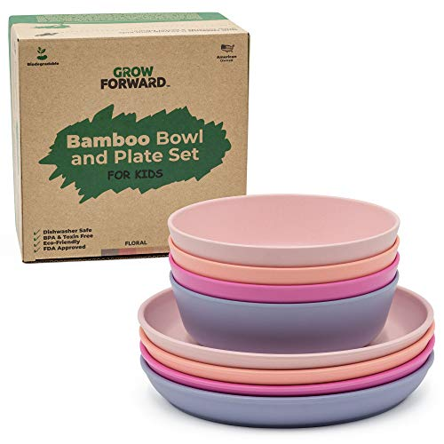 Grow Forward Kids Bamboo Bowl and Plate Set - 4 Bamboo Plates & 4 Bamboo Bowls - Toddler Dishes - BPA Free & Dishwasher Safe - Eco Friendly Biodegradable Reusable Dinnerware - Floral