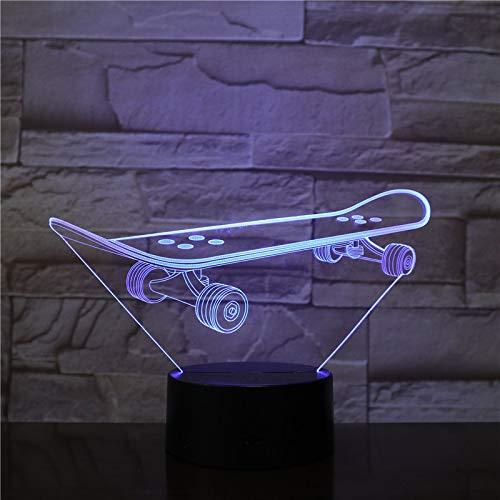 Skateboard 3D led nachtlichter Romantisches Schlafzimmer Schreibtisch lampen Liebhaber Paar Geschenke Kinder Schlaf Lichter 1 Controller
