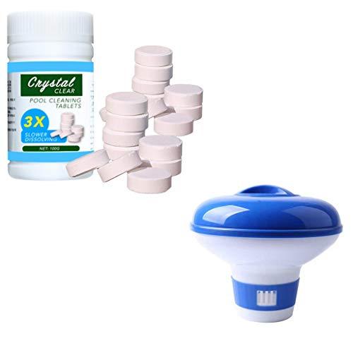 Zwembad Chloor Dispenser Set (100 Chloor Tabletten+1 Zwembad Chloor Drijver) Voor Bubbelbaden, Warmwaterbronnen, Zwembaden