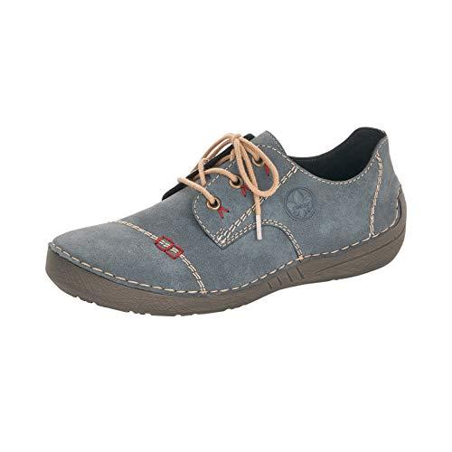 Rieker Damen Schnürhalbschuhe, Frauen sportlicher Schnürer, strassenschuh Sneaker Derby schnürung freizeitschuh,Blau(Jeans),40 EU / 6.5 UK