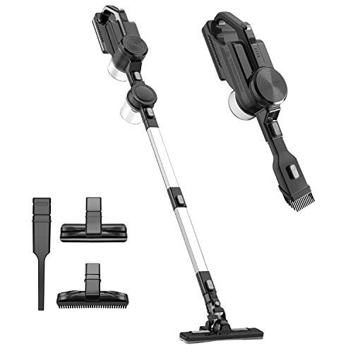 Cordless Vacuum Cleaner, Double Cyclonic Suction Rechargeable Stick Handheld Vacuum Cleaner Multifunctional 9 in 1 Lightweight Portable Hand Vacuum for Home, Hard Floor, Carpet, Car