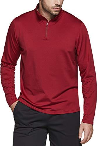 TSLA Men's Quarter Zip Thermal Pullover Shirts, Winter Fleece Lined Lightweight Running Sweatshirt, Fleece 1/4 Zip Sweatshirt(ykz05) - Crimson Red, Large