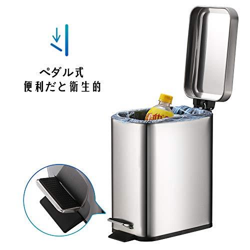 Smartbin5Lステンレス製スリムゴミ箱ダストボックス四角形蓋付きペダル式ゴミ箱音無し生ごみ防水指紋防止オシャレペダル式ゴミ箱ダストボックスキッチントラッシュカンリサイクルカントイレリビング(シルバー)