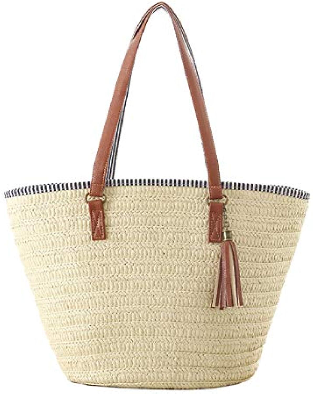 Women's Tassel Big Straw Bag Large Capacity Handbag Handmade Casual Beach Shoulder Bags Holiday Tote