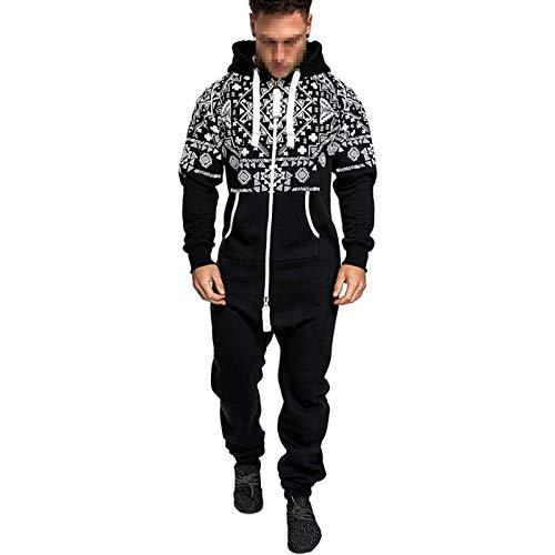 Men's Christmas Jumpsuit Autumn Winter Casual Hoodie Zipper Long Playsuit One Piece with Drawstring Jogging Tracksuit (Black, M)