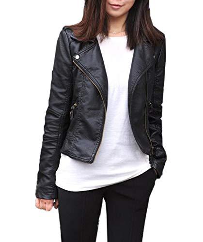 Mujer Cuero Chaquetas Manga Larga Ropa de Abrigo Tops Outwear con Cremallera Slim PU Corto Jacket de Moto Coat Cazadora Remata,Primavera y Otoño Nuevo