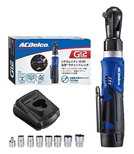 "ACDelco G12 10.8V (12V MAX) 充電式 コードレス ラチェットレンチセット 3/8""(9.53mm) ラチェットヘッド 最大トルク45ft-lbs(60Nm) 正逆転切替 LEDライト内蔵 リチウムイオン電池 車輌エンジン修理 ステ"