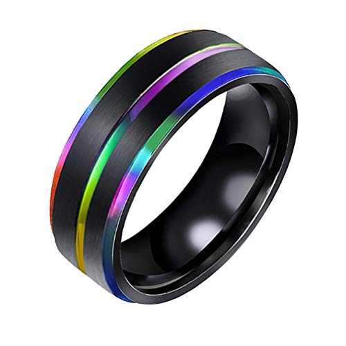 TENDYCOCO Titanium Steel Gays Lesbians LGBT Pride Rainbow Ring Wedding Engagement Band Size 7-Rainbow Color Random