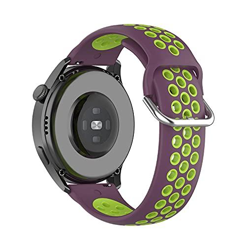 22mm Correa para Huawei Watch3/Huawei Watch 3 Pro,Bandas Correa Repuesto,Silicona Reloj Recambio Brazalete Correa Repuesto para Huawei Watch GT2 Pro/Watch GT 42mm/46mm/Garmin Venu 2 (limón morado)