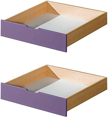 Schublade für Kinderbett   Jugendbett Milo 30, Farbe  Natur   Lila, massiv - Abmessungen  15 x 86 x 78 cm (H x B x T)