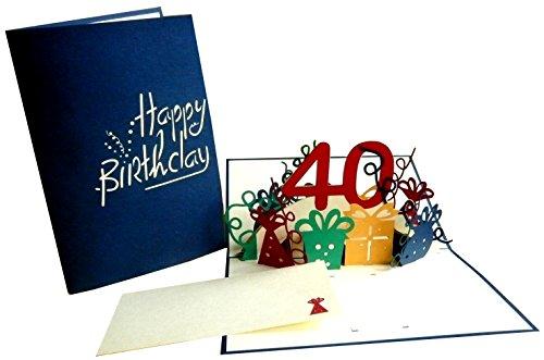 LIN-POP UP Grußkarten zum 40. Geburtstag, Geburtstagskarten Glückwunschkarten Grußkarten Geburtstag