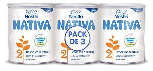 Nestlé NATIVA 2- Leche de continuación en polvo- Fórmula para bebés- A partir de los 6 meses - pack de 3 latas x800 gr - Total: 2400 gr