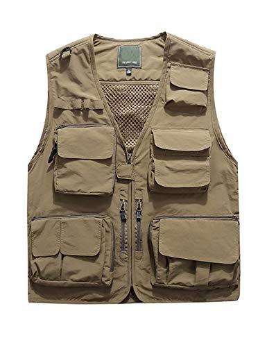 Jenkoon Men's Work Multi-Pockets Lightweight Outdoor Travel Fishing Vest (Khaki-05, XX-Large)