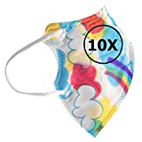 TBOC FFP2 Masken - [Pack 10 Einheiten] Einwegmasken [Kleine Größe] [Wolken und Regenbogen] 5 Schichten [Nicht Wiederverwendbar] Atmungsaktives Falten mit Nasenklemme [Zertifiziert Genehmigt CE 0370]