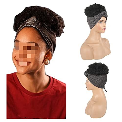 CHENSHENG Alto Soplo Turbante Cola de Caballo Corto Kinky Rizado Headwrap cordón Envoltura-Cola de Caballo 2 en 1 Wrap Wig Turban Peluca (Color : Negro, Size : 8inches)