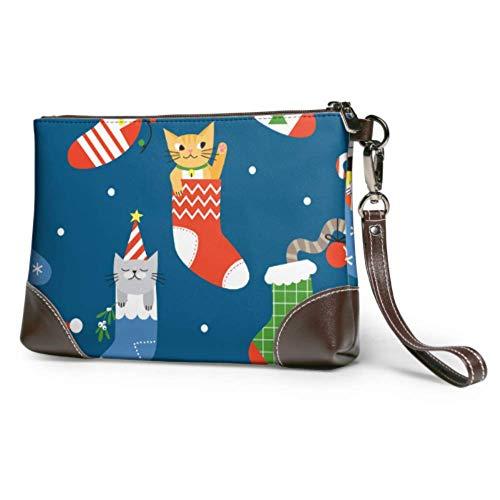 XCNGG Pochette impermeabile morbida da donna Gatto carino in pelle da polso con calzino natalizio con cerniera per le ragazze delle donne