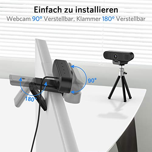 eMeet 1080P Webcam - C980PRO Webcam mit Mikrofon und Lautsprecher, Full HD Webcam, 90 ° Sichtfeld, Automatische Lichtkorrektur, Plug & Play, für PC, für Skype, FaceTime, Konferenz, Online-Unterricht