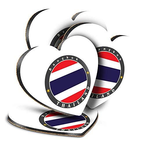 Destination Vinyl ltd Great Posavasos (juego de 4) corazón – Bangkok Tailandia bandera tailandesa viaje bebida brillante posavasos   protección de mesa para cualquier tipo de mesa #5636