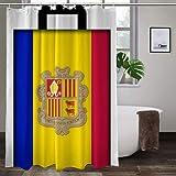 keiou Cortina de Ducha de poliéster,Suitcase with Andorra Flag,Excelente Impermeable para la decoración del baño, Cortina de Ducha Linda.72 * 72inch