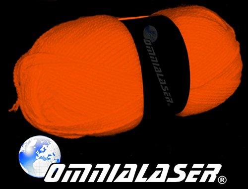 OmniaLaser OL-UVWOOLORANGE Lana Reagente alle Luci di Wood, UV, Luce Nera, Glow Party Gomitolo Fluo-Colore Arancione, 1