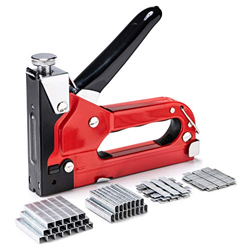 Upholstery Staple Gun Heavy Duty, PHITRIC 4 in 1 Stapler Gun with 6000 Staples, Manual Brad Nailer Power Adjustment Furniture Stapler Gun for Wood, Carpentry, Decoration DIY Staple Gun