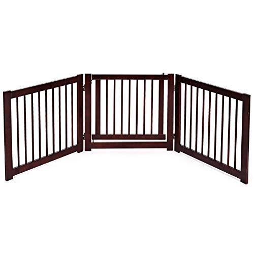Costway Barrière de Sécurité pour Chien en Bois de Pin avec Porte (3 Panneaux)