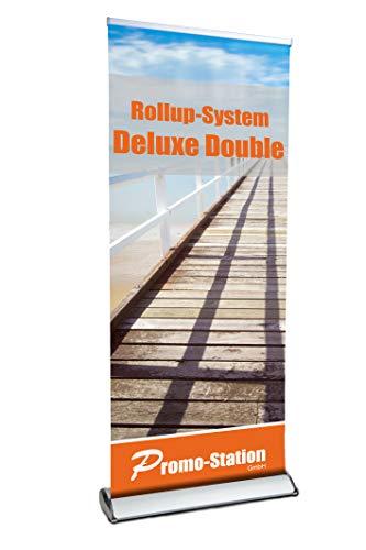 Roll Up Deluxe Double 85x200cm | Rollup Display ohne Banner, ohne Druck | doppelseitiges Alu Roll-Up, Silber eloxiert | inkl. Tragetasche | Rollup Bannerdisplay Aufsteller für Werbung
