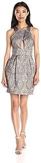 Nicole Miller Women's Richesse Jacquard Halter Dress with Cutout Detail