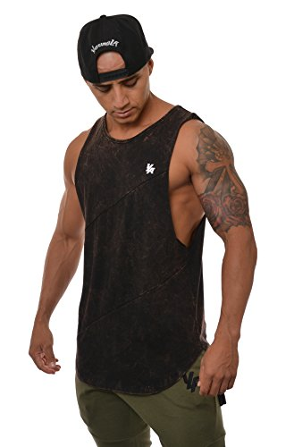 YoungLA Long Tank Tops Men Muscle Shirt Gym Training 306 Bkwsh L