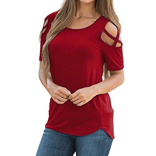 OSYARD Damen Sommer Kurzarm O-Ausschnitt Riemchen Cold Shoulder T-Shirt Solide Blusen Strandtops