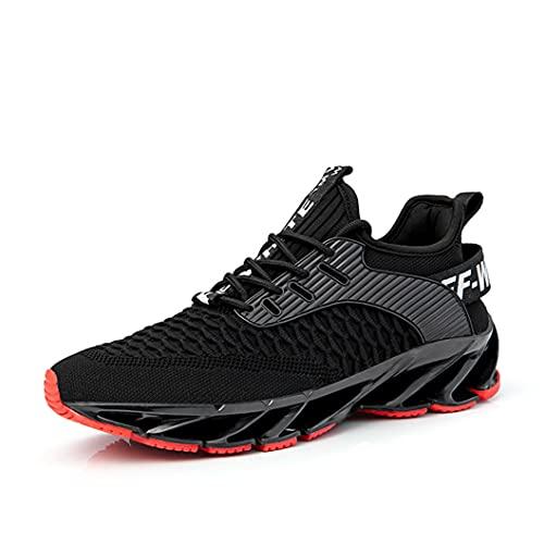 Zapatillas de Deportes Hombre Mujer Zapatos Deportivos Running Zapatillas para Correr Ligero y con Estilo Negro Blanco Gris Dorado 18 Negro Rojo 44