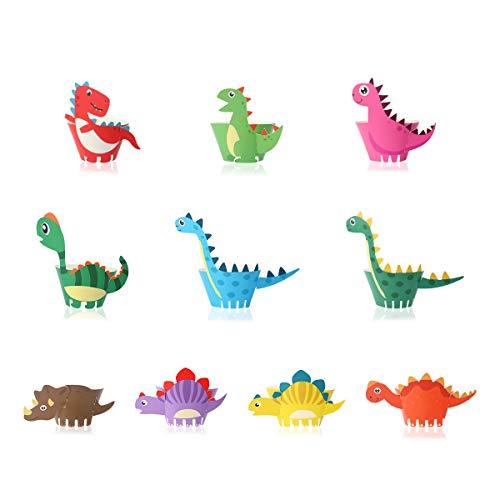 Dinosaurier Cupcake Wrapper, BESTZY 50 Stück Dinosaurier Cupcake Toppers Wrappers Dinosaurier Kuchen Dekoration für Kinder Geburtstag Party Geburtstag Deko
