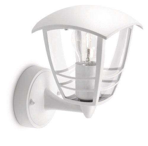 Philips myGarden Creek - Aplique de exterior sin sensor, empotrado, casquillo gordo E27, bombilla no incluida, 23.5 cm, color blanco