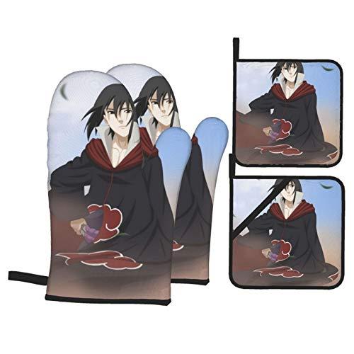 Dxddsdks Anime NARUTO Uchiha Sasuke guantes de horno y soportes para ollas, resistentes al calor, guantes de cocina, hornos antideslizantes, ollas para cocinar, asar a la parrilla