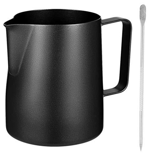 DOITOOL - Brocca per schiuma di latte con penna decorativa in acciaio inox, per caffè e latte, 600 ml