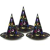 com-four® 3X Sombrero de Bruja para Disfraz de Bruja - Sombrero de Mago Ideal para Carnaval, Halloween - 33 x 38 cm (03 Piezas - Sombrero de Bruja de Colores)