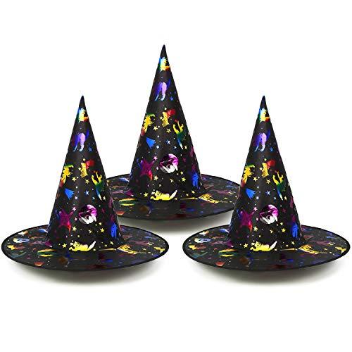 com-four® 3X Hexenhut für Hexenkostüm - Zauberer Hut ideal zu Fasching, Karneval, Halloween - 33 x 38 cm (03 Stück - Hexenhut bunt)