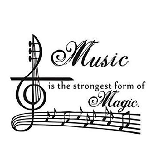 sufengshop Beating Notes and ''Music is The Strongest Form of Magic'' Muurstickers Woonkamer Slaapkamer Slaapbank Achtergrond Grootte 58×42cm