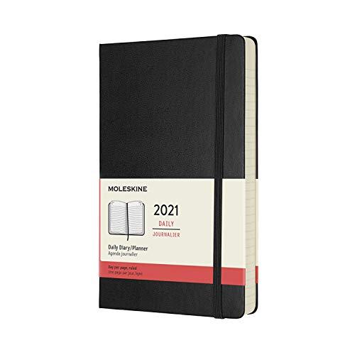 Moleskine 12 Monate Tagesplaner 2021, Tageskalender 2021, fester Einband und elasticher Verschluss, Format Groβ 13 x 21 cm, Farbe schwarz, 400 Seiten, Large