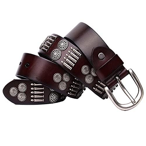 EDMKO Cinturón De Remaches, 105-125cm Remache Y Tachuelas En Diseño Vintage Señora Cinturón para Diario Unisex,Marrón,105cm