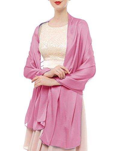 Bridesmay Donna Elegante Seta Sciarpe Morbido Collo Solido Avvolge Scialli Pink