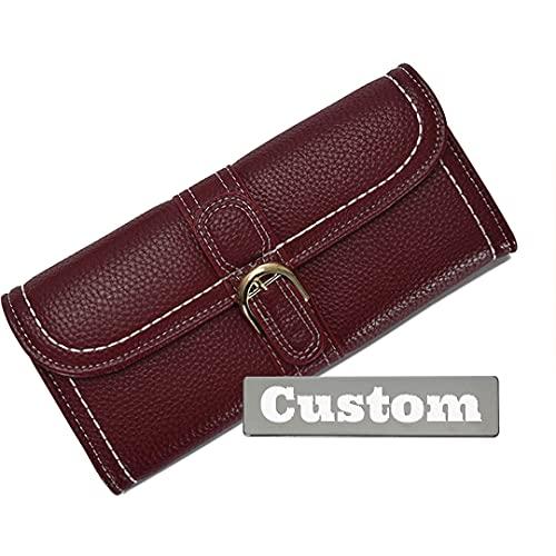 Personalizado Nombre Personalizado Cuero para Mujer Cartera Larga Zipperper Tarjeta Delgada Cuero (Color : Red, Size : One Size)