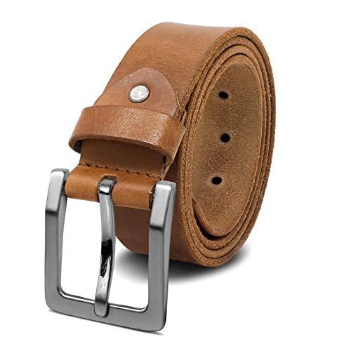 ROYALZ Antik Vintage Ledergürtel für Herren Büffel-Leder aus robusten 4mm Voll-Leder Jeans-Herren-Gürtel mit Dornenschließe 38mm, Größe:100, Farbe:Braun - Schnalle gebürstet