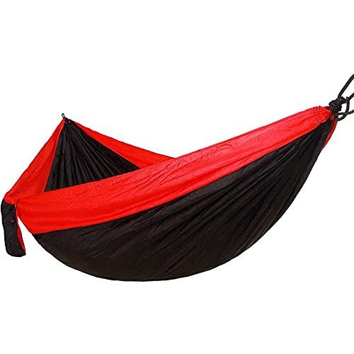 Hasey Hamaca de camping Hommock, para exteriores, portátil, hamaca para exteriores, hamaca de nailon, hamaca para colgar, color rojo y negro, 270 x 140 cm