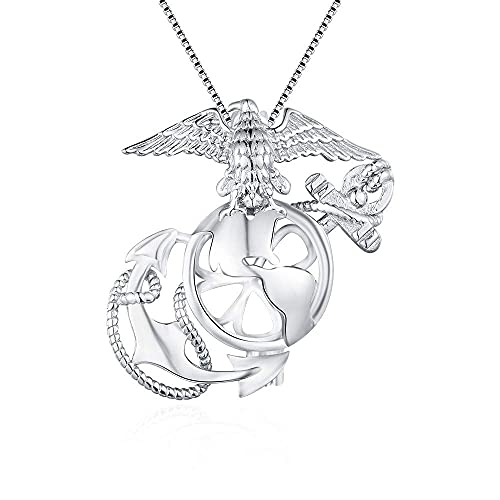 Sterling Silver Marine Corps Badge Pearl Cage Pendants for Women, Design Pearl Cage Pendants for Pearl Jewelry Making, Essential Oil Diffuser Lockets for Pearl Jewelry