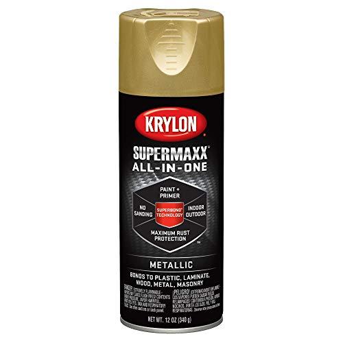 Krylon K08990000 SUPERMAXX All-In-One Spray Paint, Gold Metallic, 12 Ounce