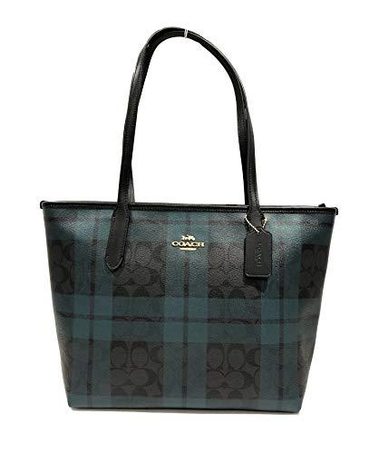 Coach Cross Grain Leather City Zip Tote Bag Purse (IM/Black Deep Ocean Multi)