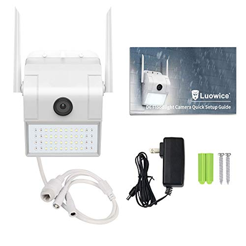 Luowice Floodlight Camera Wireless 1080p HD WiFi Outdoor Security Camera with Built-in Siren Alarm Two-Way Talk, Night Vision 160° View, IP66 Weatherproof