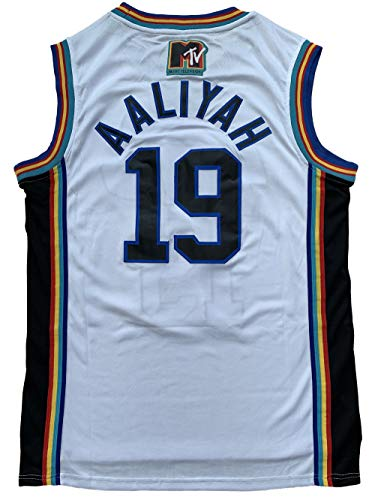 Aaliyah 19 Bricklayers MTV Rock N Jock 90s Hip Hop Clothes for Party Men Basketball Jersey (White, X-Large)